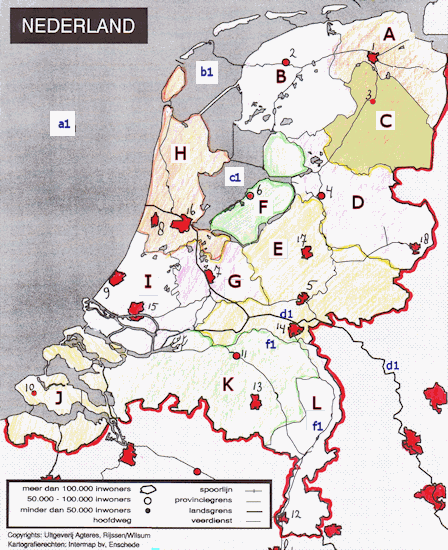 topographical map Netherlands (Provinces)